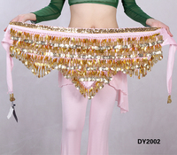 Belly dance dancing hipscarf chiffon gold coins wave belly dance belt