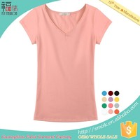 DT185# wholesale women solid color blank V-neck t-shirts