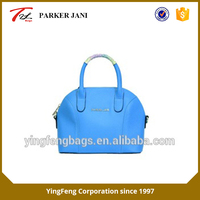 Bright color cross pattern pu leather tote handbag brands for women