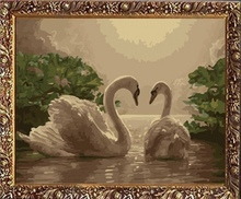 40*50cm factory price painting swan, oil painting by number art canvas