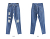Hot sell fashion design ripped blue brand jeans wholesale price ,OEM service