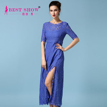 European Fashion New Trend 2015 Sexy Blue Lace Half Sleeve See Through Prom Dress High Slits Long Evening Backless Dress 7025