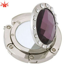 Purple Stone Hanger Compact Mirror Cast Bag Hanger