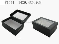 Custom Black Paper Gift Packaging Paper Box with Clear PVC Window Wholesale P1541