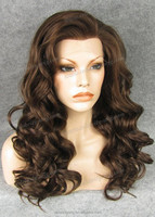 Unique Natural brown lace front wig for sale synthetic hair curly wig