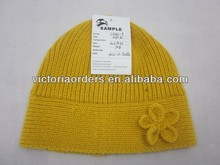 100%acrylic mohair knit hat with crochet flower