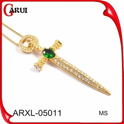 New gold chain design for men gold plated sword pendant necklace green stone necklace