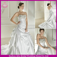 QQ1670 Beaded top ruffled skirt custom made wedding dresses brazilian wedding dresses for full figure