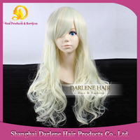 LOW10 Women's Long Wavy Light Blonde Heat Resistant Synthetic Hair Lolita Fashion Discount Wigs with Bangs
