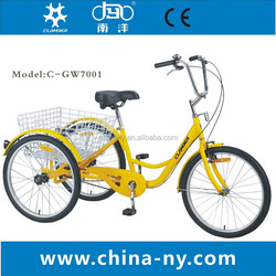 three wheel adult pedal tricycle for shopping