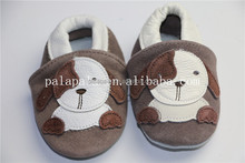 Suede soft animal puppy printed pattern genine leather baby shoes moccasins