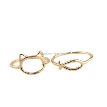 Urban Lovers Kitty and Fish Golden Stack Above Knuckle Ring Band Midi Rings for Women