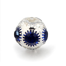 DHJ15425 Silver Plated Alloy Ball Spacer with Royal Blue Rhinestone Beads