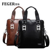 Men Cow Leather Shoulder Briefcase Handbag Slim Messenger Bag for Tablet