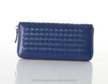 Hot Selling Classic Woven Wallet Sheepskin Leather, Women's Leather Purse BLUE Bag