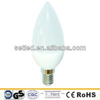 230V Plastic E27 E14 Base 4W 2835SMD High Lumen C37 LED Candle Bulb