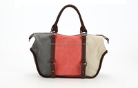 2015 new design cotton canvas lady handbag with genuine leather, canvas tote bag leather handle