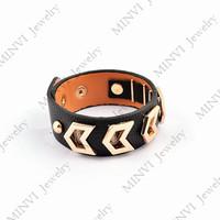 Dubai black leather bracelet&bangle gold plated titanium steel arrow direction men women joyas GBG489