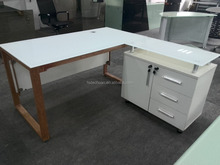 Modern White Office Desk With Locked Filing Cabinet
