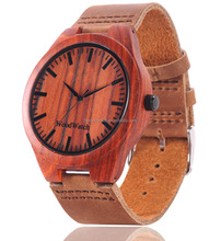 High quality new fashion wood watch for unisex, 100% natural watch wood with leather band
