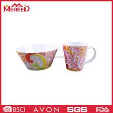 Colorful print melamine cup & bowl , plastic melamine fine china dinnerware