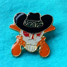 China wholease Cowboy Skull with Cross Enamel Lapel Pin Badge gift