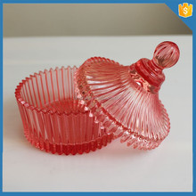 Wedding lead free ribbed buffet colored candy jar with lid