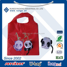 Promotional Eco Reusable recycled Animal Bag Nylon Polyester Folding Shopping Bags
