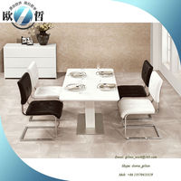 Modern white tempered glass top dining table round corner dining table set