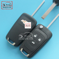 High quality 3 buttons modified cruze flip key with cross LOGO for Chevrolet Cruze remote key with 433mhz