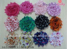 6cm Colorful Shabby Chiffon Flowers Trimming with Dots for Garment