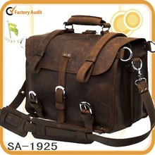 British style Retro brown leather travel bag, duffel bag for business trip