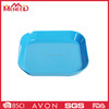 High quality cream color melamine square food tray, bright blue color children food serving tray
