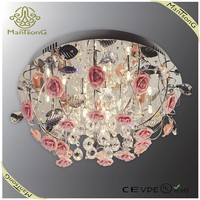 High quality G4 LED home ceramic flower ceiling lights with crystal decoration
