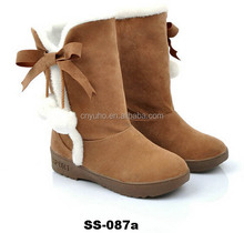 SS-087 lady winter boots soft suede leather boot women shoes snow boots with bow