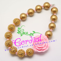 Hottest Sale Cordial Design Fashion Jewelry Big Pink Resin Rose Handmade Gold Beads Teen Necklace