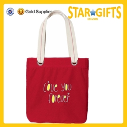 RED Cotton Tote Bag Shopping - Travel Beach Bags