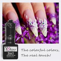 Y-Shine OEM UV / LED Gel Nail Polish Soak Off Gel Polish 3D / Builder Gel Glitter Powder Nail Kits