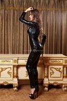 2015Hot Selling New Arrival Black Leather Catsuit For Mature Women