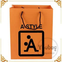 HOT orange paper bags, paper shopping bag , paper bag with handles wholesale