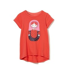 bulk melon color unprallel hem printed loose t shirt for girls