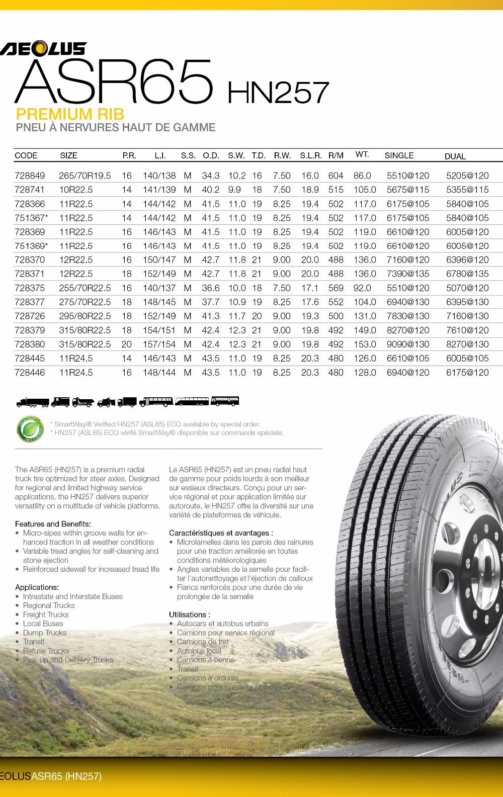 aeolus windpower asr65 hn257 265 70r19 5 255 70 22 5 tbr bus prix des pneus route pneu de. Black Bedroom Furniture Sets. Home Design Ideas