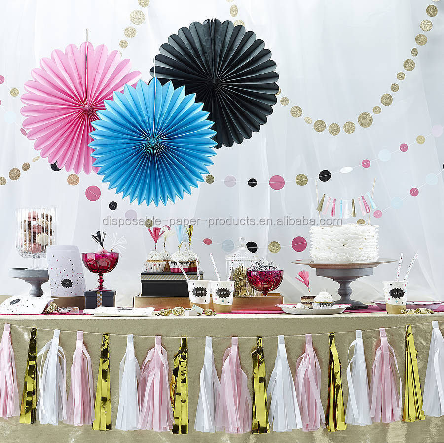 Pink hanging tissue paper fans garden birthday party for Back drop decoration