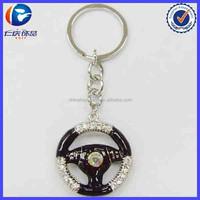 Rhinestone Steering Wheel Shaped Promotional Keychain