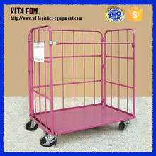 3 Panels Stackable Folding Storage Wheeled Metal Wire Mesh Pallet Cage