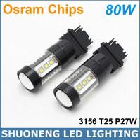 Brand New 80W White 3156 T25 P27W Osram Chips Automotive Reversing Light Bulbs 24V 12V LED
