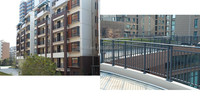 glass modern design balcony rails hot dipped glavanized guardrail fencing barrier