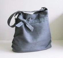 Grey Hemp Cotton Bag, tote, handbag, purse, bow, hemp, unique