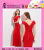2015 fashion original price V collar adult party dress alibaba elegant red color short evening dress with a train