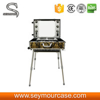 Mobile Rolling Beautiful Aluminum Makeup Station with Light